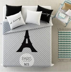 luxusne-prehozy-na-postel-sivej-farby-so-vzorom-eiffelovej-veze